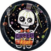 "Skeleton Trick Or Treat 9"" Paper Plates (8)"